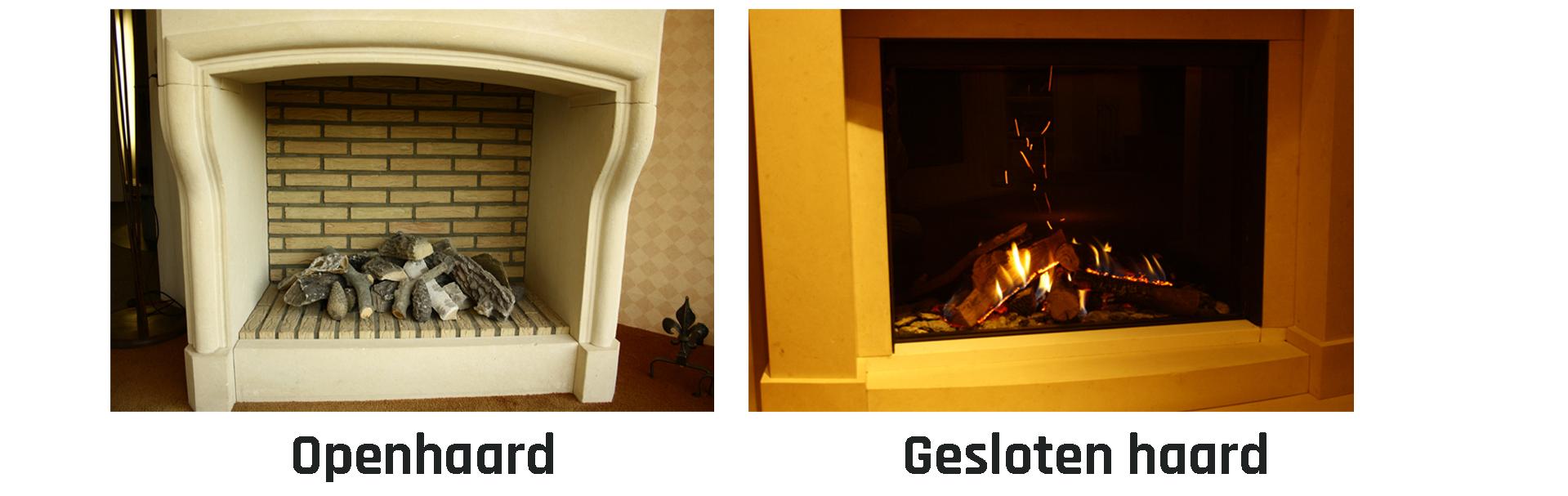 Wat is het verschil tussen een open of gesloten gashaard