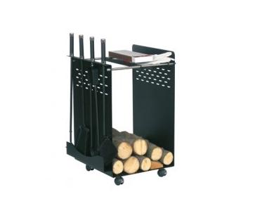 Houtbak - haardstel zwart 50.110 op wieltjes